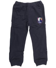 Wear Your Mind Full Length Logo Patch Joggers - Navy Blue
