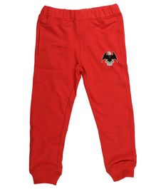 Wear Your Mind Full Length Eagle Patch Joggers - Red