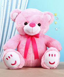 Teddy Bear Soft Toy with Bow Pink - Height 33 cm