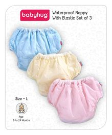 Babyhug Waterproof Nappy With Elastic Large Set of 3 - Pink Blue Yellow