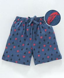 Cucumber Shorts With Drawstring Boat Print - Blue