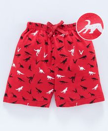 Cucumber Shorts With Drawstring Tree Print - Red