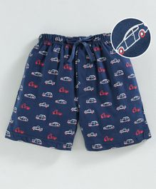Cucumber Shorts With Drawstring Car Print - Blue