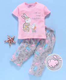 Doreme Half Sleeves Night Suit Bunny Print - Pink Grey