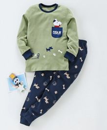 Kookie Kids Full Sleeves Night Suit Puppy Print - Green Navy Blue