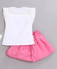 Kookie Kids Short Sleeves Top & Shorts Set - White & Pink