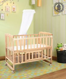Babyhug Montana Wooden Cot Cum Rocker with Mosquito Net - Cream