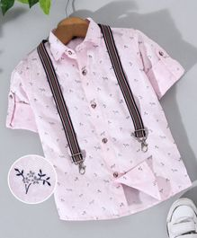 Robo Fry Full Sleeves Printed Shirt With Suspenders - Pink