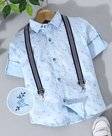 Robo Fry Full Sleeves Printed Shirt With Suspenders - Blue