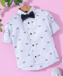 Robo Fry Full Sleeves Bear Printed Shirt with Bow - Light Blue