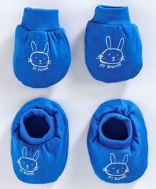 Simply Mittens & Booties Set Bunny Print - Royal Blue