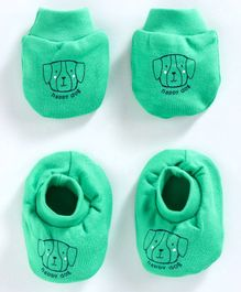 Simply Mittens & Booties Set Puppy Print - Green