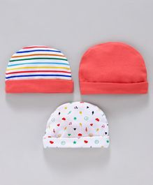 Simply Caps Pack of 3 Striped Solid Color & Printed - Pink White