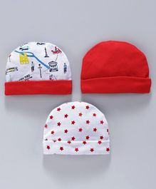 Simply Caps Pack of 3 Solid Color & Printed - Red White