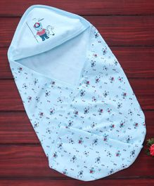Simply Cotton Hooded Swaddle Wrapper Bear Print - Blue