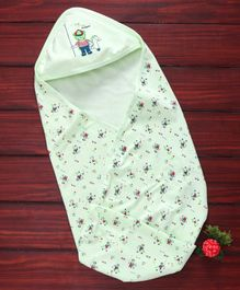 Simply Cotton Hooded Swaddle Wrapper Bear Print - Green