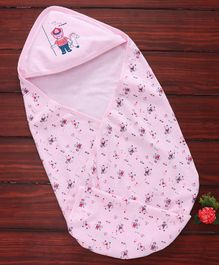 Simply Hooded Swaddle Wrapper Bear Print - Light Pink