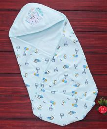 Simply Hooded Swaddle Wrapper Kitty Embroidery - Blue