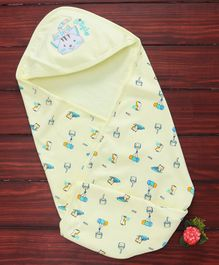Simply Hooded Swaddle Wrapper Kitty Embroidery -Yellow