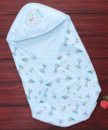 Simply Hooded Swaddle Wrapper Kitty Embroidery -Light Blue