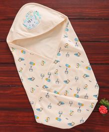 Simply Hooded Swaddle Wrapper Kitty Embroidery - Peach