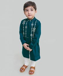 Tiber Taber Full Sleeves Embroidery Detailing Kurta & Pajama Set - Green & White