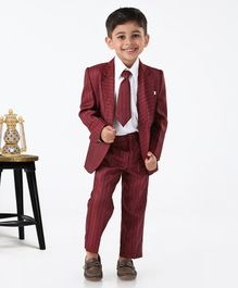 Rikidoos Full Sleeves Striped Three Piece Party Suit With Tie - Maroon