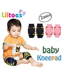 Liltoes Baby Safety Knee Pads Set of 2 Pairs - Pink Navy Blue