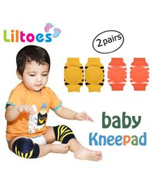 Liltoes Baby Safety Knee Pads Set of 2 Pairs - Yellow Orange