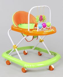 Musical Baby Walker With Play Tray - Orange Green