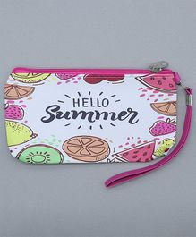 TMW Kids Fruit Printed Pouch With Zipper - Pink