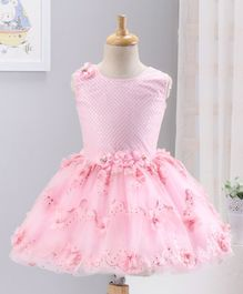 Enfance Sequined Flower Applique Sleeveless Fit & Flare Tulle Dress - Pink