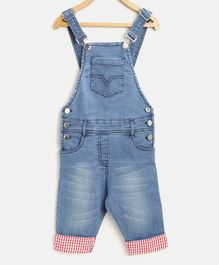 StyleStone Checked Roll Up Three Fourth Length Dungaree - Blue