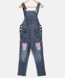 StyleStone Full Length Check Detailed Dungaree - Blue
