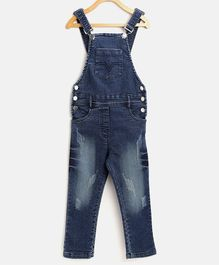 StyleStone Full Length Scratch Style Distressed Dungaree - Blue