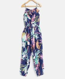 StyleStone Full Length Tropical Leaves Print Jumpsuit - Blue