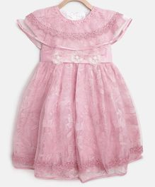 StyleStone Short Sleeves Floral Lace Work Pearl Detailed Dress - Pink