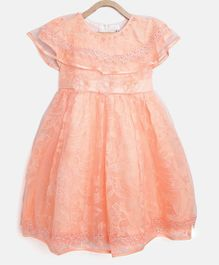 StyleStone Short Sleeves Floral Lace Work Pearl Detailed Dress - Peach