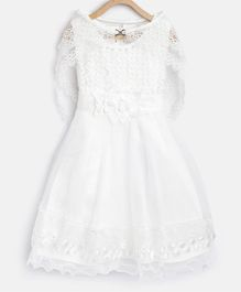 StyleStone Sleeveless Pearl Detailed Floral Lace Work Dress With Cape - White