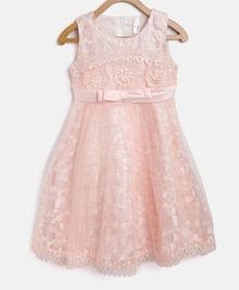 StyleStone Sleeveless Floral Embroidered Pearl Detailed Dress - Pink