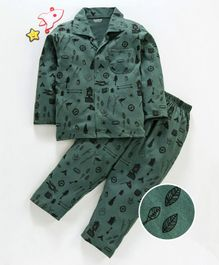 Doreme Full Sleeves Night Suit Multi Print - Olive Green