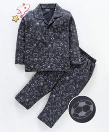 Doreme Full Sleeves Night Suit Sport Print - Dark Grey