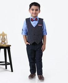 Rikidoos Full Sleeves Shirt With Striped Waistcoat & Pants With Bow Tie - Navy Blue