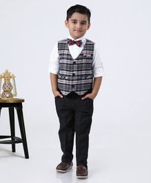 Rikidoos Full Sleeves Shirt With Checkered Waistcoat & Pants With Bow Tie - Black & White