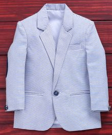 Rikidoos Striped Full Sleeves Blazer - Light Blue
