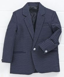 Rikidoos Striped Full Sleeves Blazer - Navy Blue