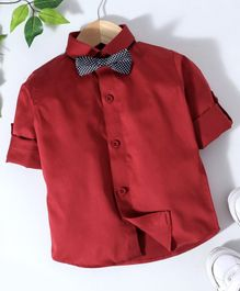 Robo Fry Full Sleeves Shirt With Bow - Maroon