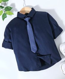 Robo Fry Full Sleeves Shirt with Tie - Blue