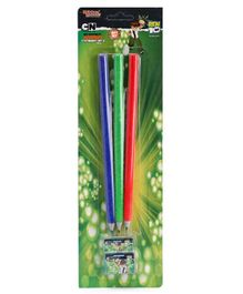 Ben 10 Velvet Coated Pencils with Sharpener & Eraser Pack of 3 - Red Green Blue