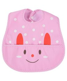 Yellow Bee Bib with Crumb Collector - Pink